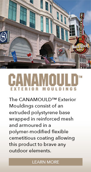 The Canamould Exterior Mouldings consist of an extruded polystyrene base wrapped in reinforced mesh and armoured in a polymer-modified flexible cementious coating allowing this product to brave any outdoor elements.