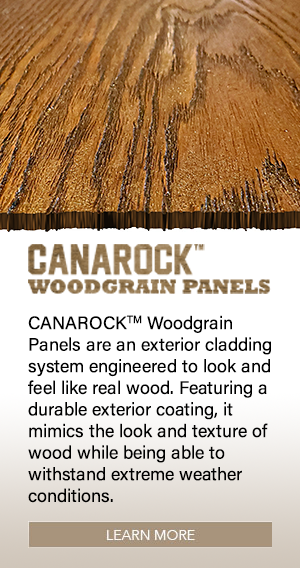 CANAROCK™ Woodgrain Panels are an exterior cladding system engineered to look and feel like real wood. Featuring a durable exterior coating, it mimics the look and texture of wood while being able to withstand extreme weather conditions.